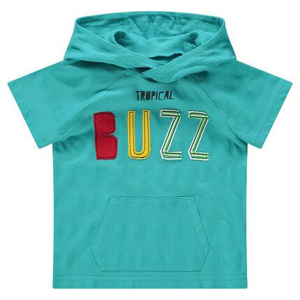 Tee-shirt manches courtes à capuche avec inscription patchée et poche