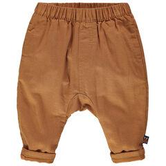 Camelkleurige broek met voering in jerseystof en elastische taille