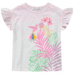 Shirt met korte mouwen van jersey, tie and dye effect met vogelprint en pompons