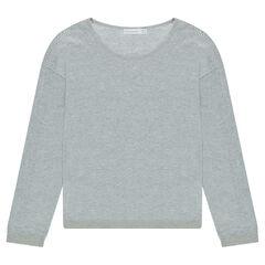 Junior - Pull fin gris chiné avec maille ajourée