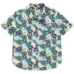 Chemise manches courtes à imprimé végétal et poche