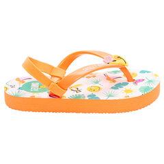 Slippers met ©Smiley-print in tropische stijl met elastische riem