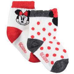 Lot de 2 paires de chaussettes assorties motif pois et Minnie Disney