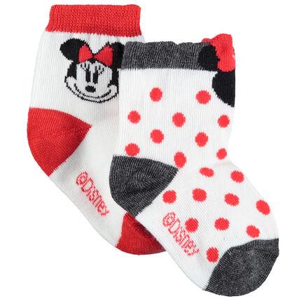 Lot de 2 paires de chaussettes assorties motif pois et Minnie Disney