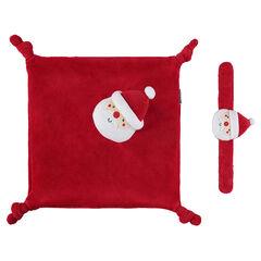 Knuffeltje van velours met rammelaar van valours van de kerstman