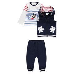 Jogging uit 3 delen met marinière met Mickeyprint, vest met kap en broek