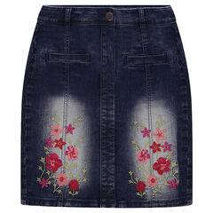 Jeansrok met hoge taille met borduurwerk met bloemen
