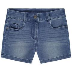 Short en jean effet used à poches