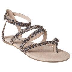Nu-pieds en cuir à imprimé léopard