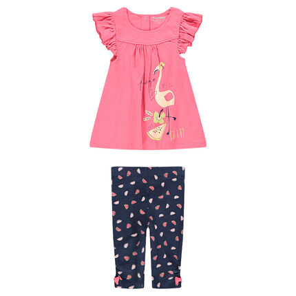 "Ensemble met tuniek print roze flamingo en legging met print ""all-over"""