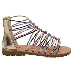 Nu-pieds dorés avec brides brillantes colorées du 28 au 35