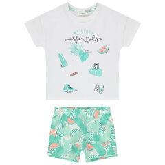 Pyjama en coton bio à imprimé tropical