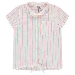 Junior - Gestreept hemd met korte mouwen om vooraan te knopen