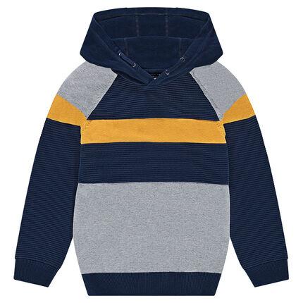 Junior - Pull en tricot fantaisie à capuche avec bandes contrastées