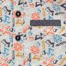 Polo met korte mouwen en wafelpiqué van katoen met print en chambray toetsen
