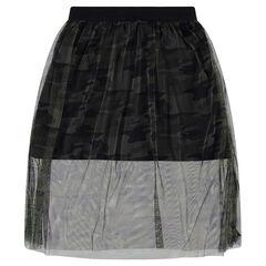 Junior - Jupe à double longueur avec tulle imprimé camouflage