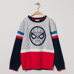 Pull en tricot tricolore Spiderman en jacquard