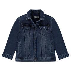 Junior - Veste en jeans effet used doublée sherpa