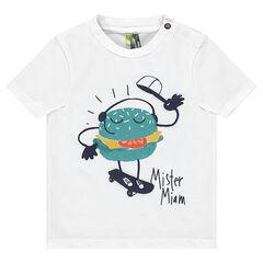 T-shirt met korte mouwen van jerseystof met hamburgerprint