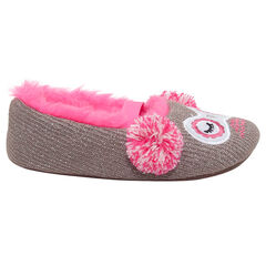 Lage pantoffels van blinkende tricot met voering van roos nepbont.