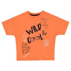 Oranje T-shirt met korte mouwen en prints met opschriften