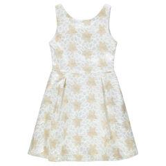 Junior - Feestelijke jurk zonder mouwen met kant en gouden bloemen