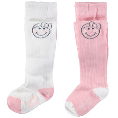 Lot de 2 collants épais côtelés avec motif Smiley