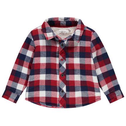Flanellen overhemd met ruitjes en voering van wollige sherpastof