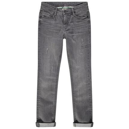 Junior - Jeans met grijs used en crinkle effect en slijtage