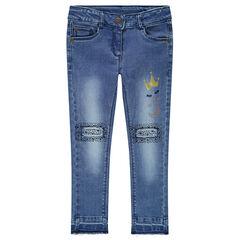 Jeans met used en crinkle-effect en met fantasies aan de broekspijpen