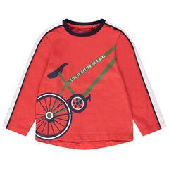 T-shirt met lange mouwen uit koraalrode jerseystof met print met fiets