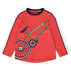 T-shirt manches longues en jersey corail print vélo