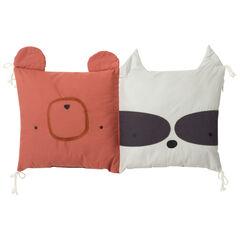 Coussin ourson et raton laveur décoratif ou modulable en tour de lit ou tour de parc  , Prémaman