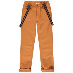 Junior - Pantalon en coton ocre à bretelles élastiquées amovibles