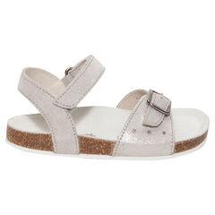 Zilveren sandalen uit leder.