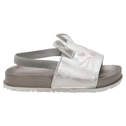 Sandalen in muiltjesvorm met geborduurde details met muis en elastische riem