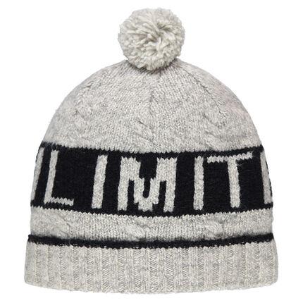Bonnet en tricot avec texte en jacquard et pompon