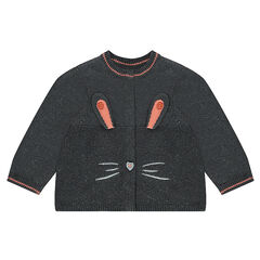 Vest van gemengde tricot met zilveren draad en geborduurde details met konijnen