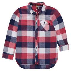 Junior - Chemise manches longues à carreaux et poche