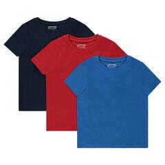 Junior - Set met 3 T-shirts van effen jerseystof met korte mouwen