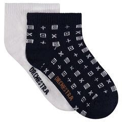 """Set van 2 paar matching sokken met motief """"all-over""""/ effen"""