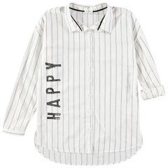 Junior - Hemd met lange mouwen, verticale strepen en print met opschrift