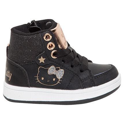 Baskets montantes noires et dorées Hello Kitty
