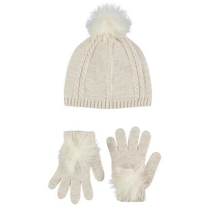 Ensemble bonnet et gants en tricot pailleté avec pompons - Orchestra BE b1406eb5d84