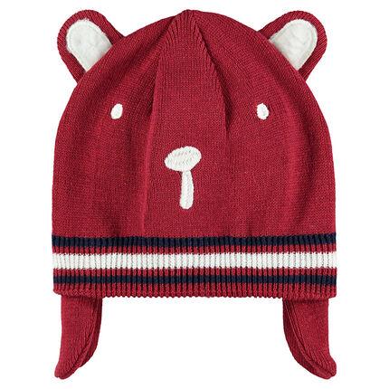 Bonnet en tricot avec cache oreilles doublé jersey