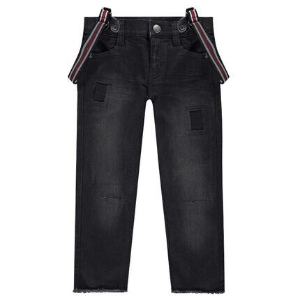Jeans met used effect en gestreepte, afneembare schouderbandjes