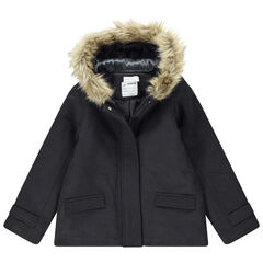 Junior - Wollen mantel gevoerd met sherpastof met namaakbont