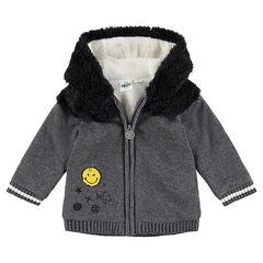 Veste en tricot et sherpa doublée sherpa avec badges Smiley
