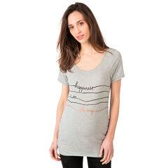 Zwangerschaps-T-shirt met korte mouwen en decoratieve opschriften