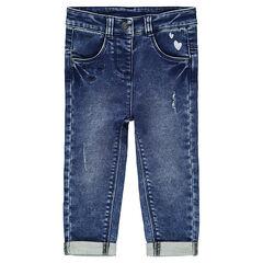 Jeans met used effect, print met hartjes en geborduurde ton sur ton hartjes